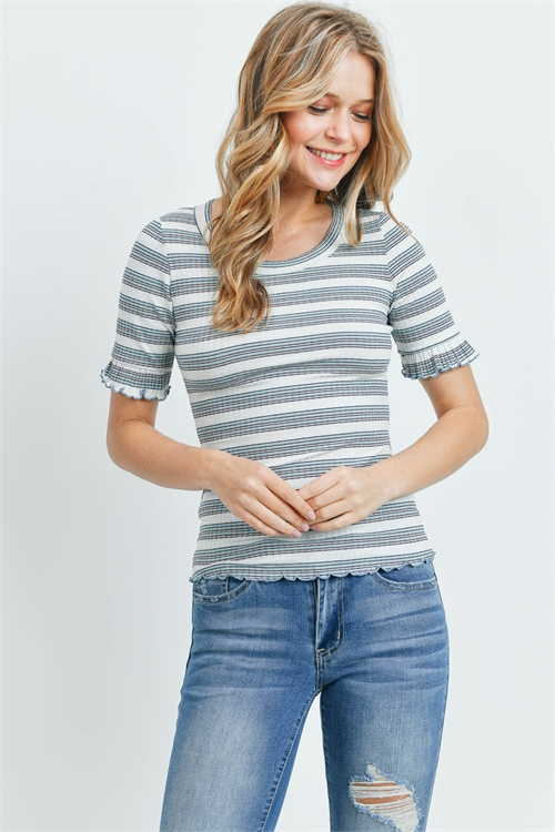 C24-A-3-T6100 IVORY MINT STRIPES TOP 2-2-2