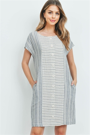 S9-11-4-D2543 CREAM NAVY STRIPES DRESS 2-2-2