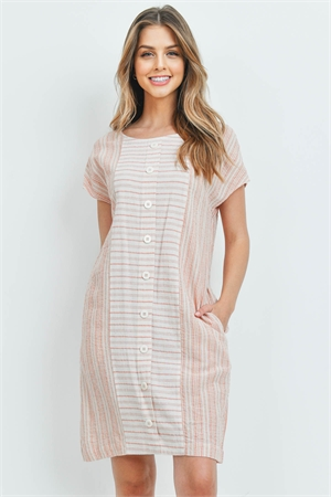 S14-3-3-D2543 CREAM TANGERINE STRIPES DRESS 2-2-2