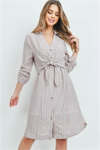 S12-8-4-D22764 PINK STRIPES DRESS 2-2-2