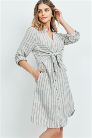 S12-8-4-D22764 PEACH GRAY STRIPES DRESS 2-2-2
