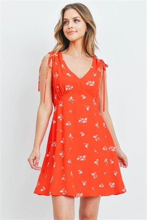 S15-9-4-D7268 RED WITH FLOWER PRINT DRESS 2-2-2