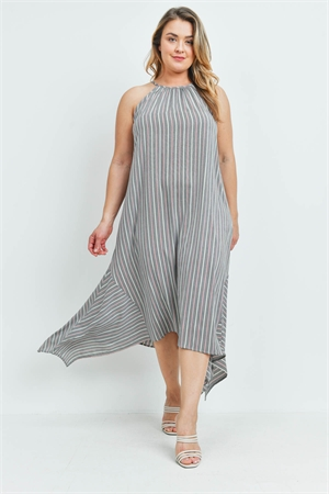 S14-2-3-D2071X GRAY STRIPES PLUS SIZE DRESS 2-2-2