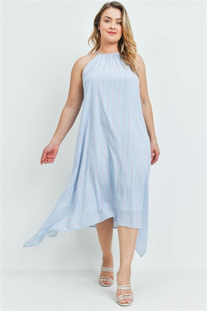 S14-2-3-D2071X BLUE STRIPES PLUS SIZE DRESS 2-2-2