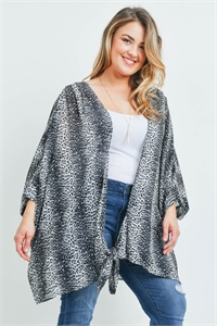 SA3-7-2-C7095X GRAY ANIMAL PRINT PLUS SIZE CARDIGAN 3-3