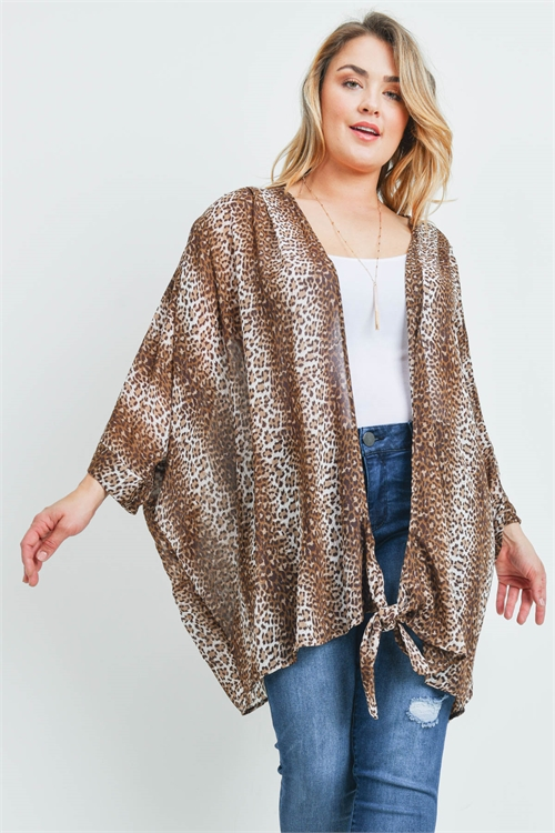 SA3-7-2-C7095X TAUPE ANIMAL PRINT PLUS SIZE CARDIGAN 3-3