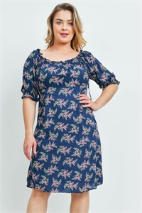 S16-3-1-D23029X NAVY PRINT PLUS SIZE DRESS 2-2-2