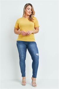 SA4-6-2-T22687X MUSTARD PLUS SIZE TOP 2-2-2