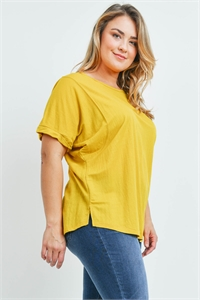 S14-11-5-T23082X MUSTARD PLUS SIZE TOP 2-2-2