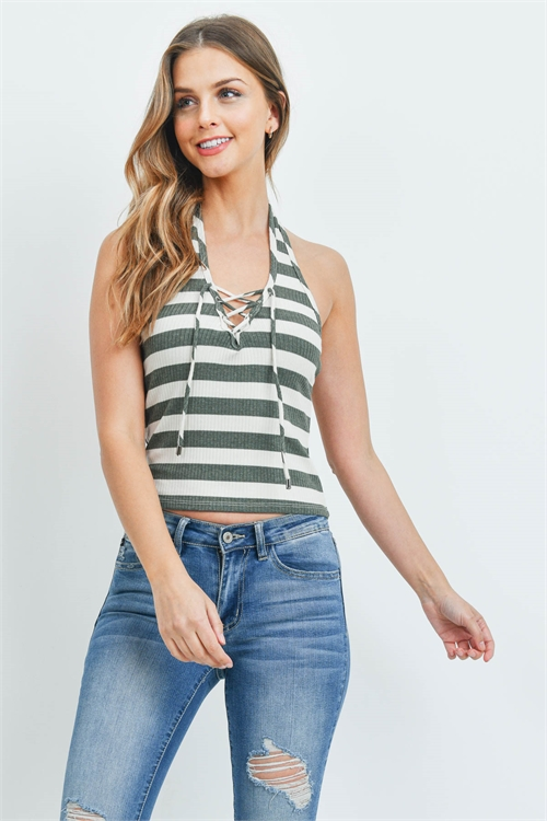 S10-7-4-T246 - OLIVE STRIPES TOP 1-2-2-2-1