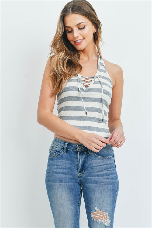 S10-7-4-T246 - HEATHER GREY STRIPES TOP 1-2-2-2-1