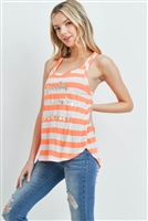 S9-18-4-T251 - NEON ORANGE IVORY STRIPES TOP 2-2-2-1