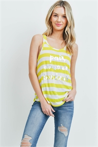 S14-3-4-T251 - LIME IVORY STRIPES TOP 1-2-2-2-1