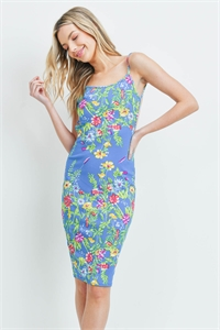 C32-A-1-D5016 TURQUOISE FLORAL DRESS 1-1-1