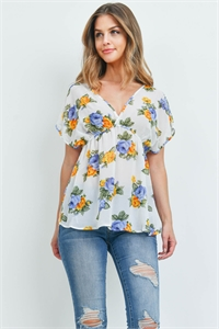 S15-12-3-T6193 IVORY BLUE WITH ROSES PRINT TOP 2-2-2