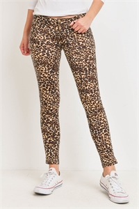 S15-7-3-P4717 TAUPE BROWN ANIMAL PRINT PANTS 2-2-2