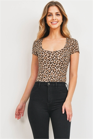 C10-A-1-B3162 TAUPE BROWN CHEETAH BODYSUIT 3-2-1