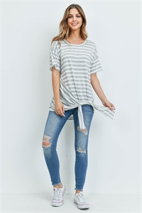 C14-A-2-T7196 IVORY GRAY STRIPES TOP 2-2-2