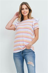 C38-A-1-T6825 RED MUSTARD STRIPES TOP 2-2-2