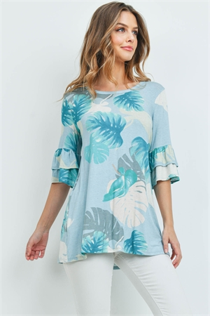 C44-A-1-T7132 MINT WITH LEAVES PRINT TOP 2-2-2