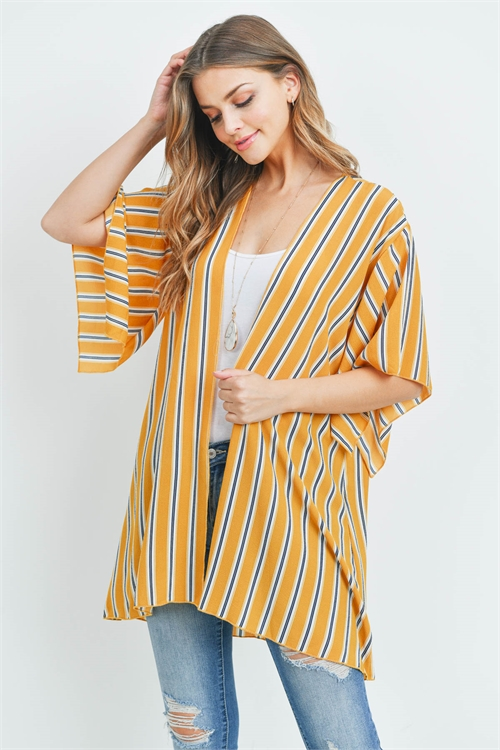 C24-A-3-C30665 MUSTARD NAVY STRIPES CARDIGAN 2-2-2
