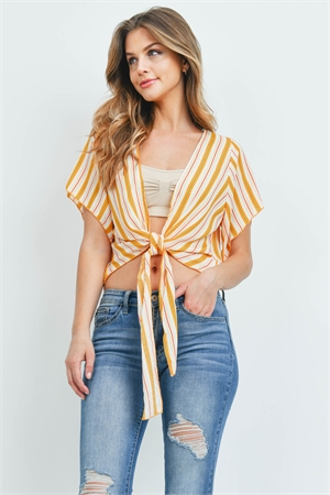 C66-A-3-T29559 IVORY YELLOW STRIPES TOP 2-2-2