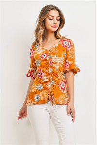 C50-A-1-T2077 MUSTARD RED FLOWER TOP 1-3-3