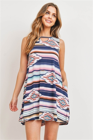 C52-A-1-D1091 OFF WHITE NAVY MULTI DRESS 1-2-1