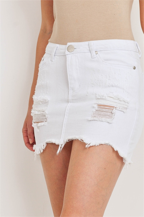 S10-5-2-S212 WHITE DENIM SKIRT 3-2-1