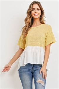 C34-A-2-T72177 MUSTARD OFF WHITE TOP 2-2-2