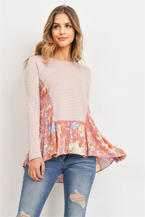 C68-A-1-T71827 MAUVE FLORAL STRIPES TOP 2-2-2