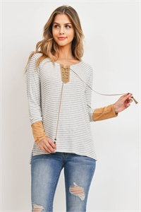 C92-A-3-T71543 IVORY GRAY STRIPES TOP 2-2-2