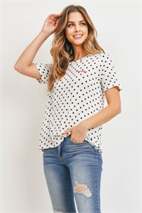 C90-A-1-T72213 IVORY BLACK POLKA DOTS TOP 2-2-2