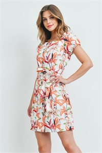 S9-1-4-D225 WHITE ORANGE FLOWER DRESS 1-2-3