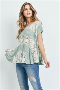 S14-8-3-T2114 IVORY LIGHT GREEN TOP 2-2-2