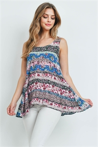 S16-8-3-T2039 WINE BLUE FLORAL TOP 2-3-2