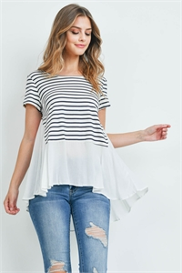 S14-8-4-T2029 IVORY BLACK STRIPES TOP 2-2-2