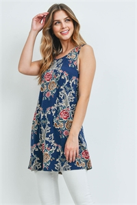 S14-12-3-T2054 NAVY FLORAL TOP 2-2-2