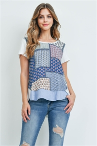 S14-10-4-T2022 IVORY BLUE PRINT TOP 2-2-2