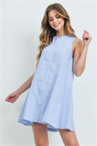 S14-12-4-D5009 BLUE WHITE STRIPES DRESS 2-2-2