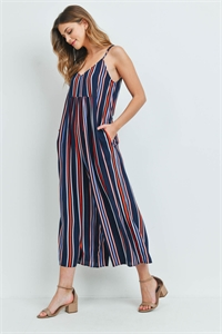 S11-10-4-J5155 NAVY ORANGE STRIPES JUMPSUIT 2-2-2