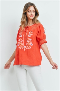 S16-3-2-T2464 RED EMBROIDERY TOP 2-2-2