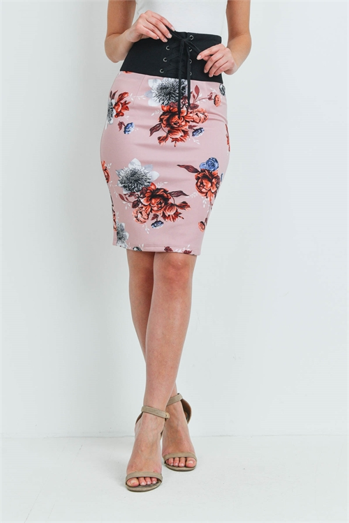 C52-B-1-S20521 BLACK BLUSH WITH FLOWER SKIRT 2-2-2