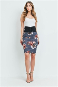 C56-B-3-S20521 BLACK GRAY WITH FLOWER SKIRT 2-2-2