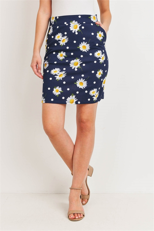 C80-A-1-S20557 NAVY WHITE FLOWER SKIRT 1-3-1