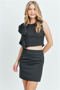 S16-8-2-SET1233649 BLACK TOP & SKIRT SET 2-1-1