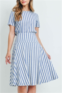 C44-A-1-S6995 BLUE IVORY STRIPES SKIRT 2-2-1