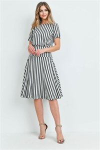 C52-A-1-SET2337 BLACK IVORY STRIPES TOP & SKIRT SET 2-2