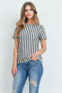 C50-A-2-T2337 BLACK IVORY STRIPES TOP 2-2-2