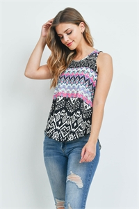 C54-A-3-T1314 BLACK FUCHSIA PRINT TOP 2-2-2
